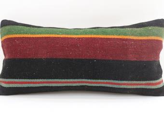 10x20 striped kilim pillow anatolian kilim pillow lumbar pillow turkish kilim pillow lumbar pillow sofa pillow ethnic pillow SP2550-1560