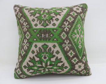 20x20 Kilim Pillows Green And White Pillows Decorative Sham Turkish Kilim Pillows Big Throw Pillows Large Cushion Cover Pillows  SP5050-2709