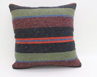 Bohemian Cushion Cover Pillow Striped Pillow Multicolor Kilim Pillow Red Pillow  Green Pillow 20x20 Large Turkish Kilim Pillow SP5050-2749