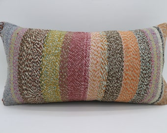 12x24 Multicolor Kilim Pillow Striped Kilim Pillow 12x24 Lumbar Pillow Red  and Yellow  Kilim Pillow Throw Pillow Cushion Cover SP3060-1772