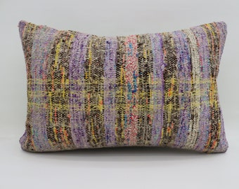 16x24 Kilim Pillow Striped Pillow Purple Pillow 16x24 Lumbar Kilim Pillow Multicolor Kilim Pillow Throw Pillow Cushion Cover SP4060-1280