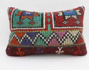 16x24 Kelim Kissen Pillow Embroidery Kilim Pillow Multicolor Kilim Pillow 16x24 Pillow Striped Kilim Pillow Geometric Pillow SP4060-1397