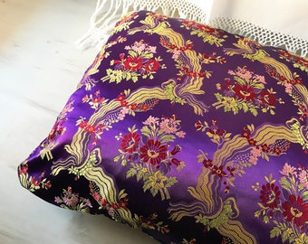 2 violet Sardinian brocade pillowcases vintage