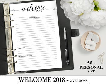Printable WELCOME 2018  insert for your Personal, A5 and Letter size planner_  NEXT YEAR's Resolutions _Digital pdf planner