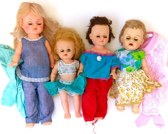 Vintage 1960's Doll Lot Plus Clothing Eyes Open Close Flirty  Baby Babies 60s 70s Retro Tall Custom Bait Refurbishing Blonde Brown Rare