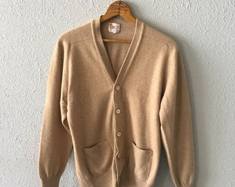 Vintage Tan 2 Ply Cashmere Beige 1970's 1980's 100% Cashmere Tan Cardigan Sweater with Pockets by Neil Norman