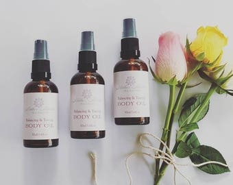 Balancing and Toning Body Oil. Natural skincare. Strech mark oil. Massage oil. Wildcrafted essential oils. Organic Body Oil.