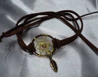 Dream Catcher Bracelet with Yellow Weave,Feather, Brown Faux Suede (4549-03-17) 1661