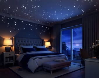 Glow In The Dark Stars: 252 Romantic  Realistic Dots And Moon Wall Decals –  Stars For Ceiling For Any Bedroom