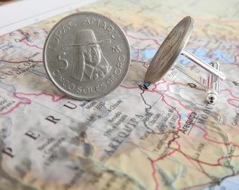Peru coin cufflinks - 2 different designs -  made of original coins from Peru - wanderlust - travelgift -