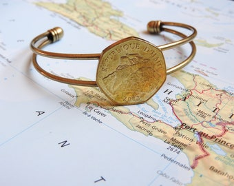 Haiti coin cuff bracelet - 2 different designs - made of original coins from Haiti - Gourde - travel gift