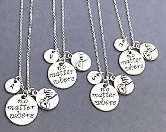 Sale,4 No Matter Where Promise, Best Friend Necklace- Set of 4,Silver Promise Necklace,4 Best Friend Necklace,Distance Friend,4 BFF Necklace