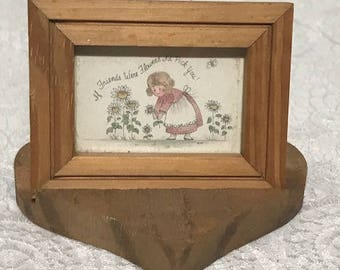"""Vintage Small Wooden Frame with Stand and a Quote """"If You Were a Flower I'd pick You"""""""