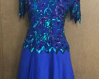 Royal Blue Elegant Dress with Beads and sequins 100 Percent Silk By Laurence Kazar New York Size Medium Mother of the Bride Maid of Honor