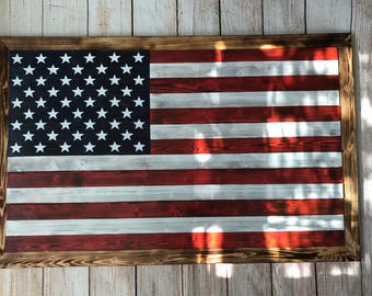 Custom made wooden American flag wall hanging