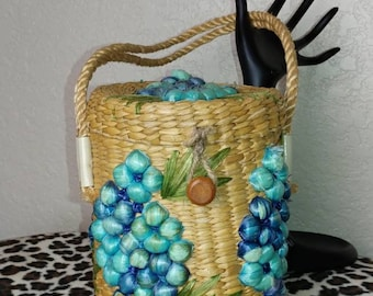 Vintage Woven Wicker Purse with Blue Fruit and Leaves