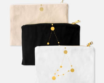 CAPRICORN Zodiac - Make Up Bags - Pencil Case - Small Travel Pouch - January Birthday Gift for BestFriend - Astrology - Makeup Organizer