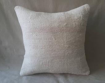 "Kilim Pillow, 18""×18""inches, Decorative Kilim Pillow, Cushion Cover, Throw Pillow, Pillow Cover, Hemp Pillow, Linen Pillow, White Pillow"
