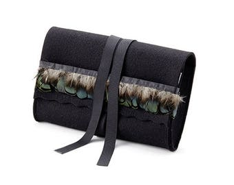 Elegant evening bag clutch wallet Black 100% merino felt lining-genuine Marabu feather Braid