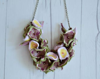 Floral Clay Necklace - Handmade jewelry, accessories, necklace, clay