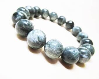 Seraphinite Bracelet Genuine Seraphinite Angel Bracelet Heart Chakra Bracelet Calming Bracelet Spiritual Bracelet 12mm Seraphinite Beads