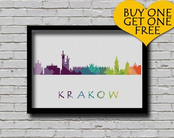 Cross Stitch Pattern Warsaw Krakow Poland Central Europe City Silhouette Watercolor Effect Decor Rainbow Color Skyline xstitch