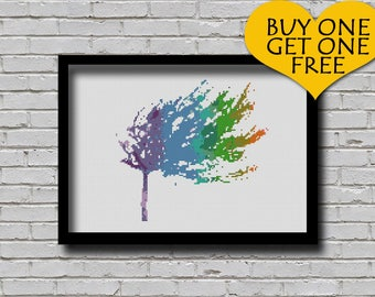 Cross Stitch Pattern Tree Silhouette Watercolor Effect Home Decor Nature Inspired Embroidery Modern Ornament in Rainbow Color Xstitch