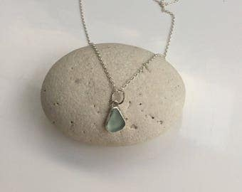Seaglass Necklace, Seafoam Seaglass Necklace, Green Sea Glass Pendant, Sea Glass Jewelry, Seaglass Pendant, Silver Necklace