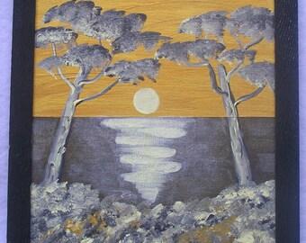 "Acrylic painting ""Golden night"""
