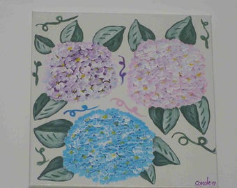 """""""Blue and pink hydrangea"""" painting on canvas (40x40cm) frame"""