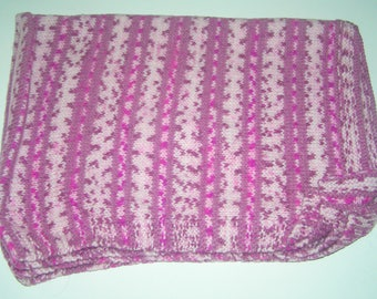 Beautiful striped heathered plum and pink baby blanket crochet handmade