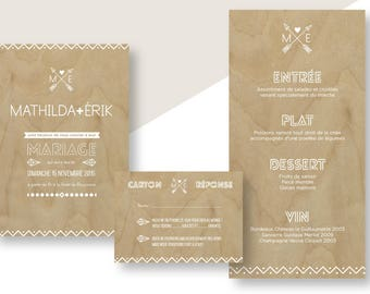 Stationery well-maintained Scandinavian style - background - clean - wood invitation - invitation - menu - rsvp - save the date