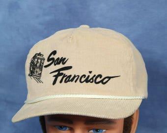 Vintage 80s 90s Tan Corduroy San Francisco hat // Baseball Cap // Snapback // California // Trolley Street Car // Hipster