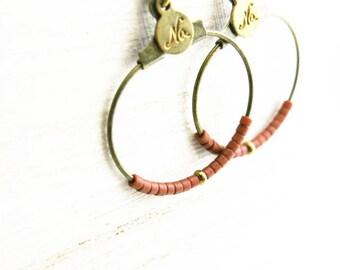 Earrings with tiny Pearl seed beads Japanese BOFA05009