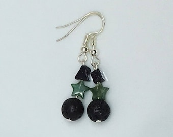 Aromatherapy Diffuser Earrings- Lava Stone & Crystals: Fancy Jasper Stars and Goldstone