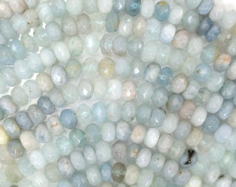 "6mm faceted blue aquamarine rondelle beads 15.5"" strand 38531"