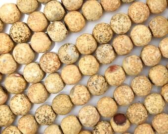 """8mm cream brown Tibetan DZI agate round beads 14.5"""" strand 38416"""
