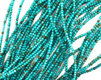 "2mm blue turquoise round beads 15.5"" strand 35159"
