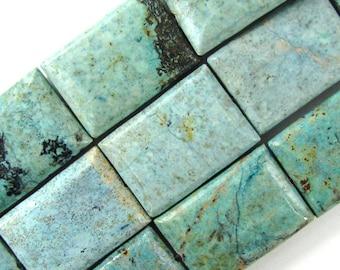 "36mm chrysocolla rectangle beads 7"" strand 5 pcs 18920"