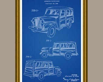 Jeep WIllys, Jeep Patent, Jeep Poster, Jeep Print, Jeep Art, Station Wagon, Jeep Gift, Jeep Fan Decor, Jeep Wave, Vintage Jeep Art P276