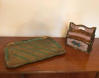 Vintage Florentine tray and letter holder - mid century - Italian