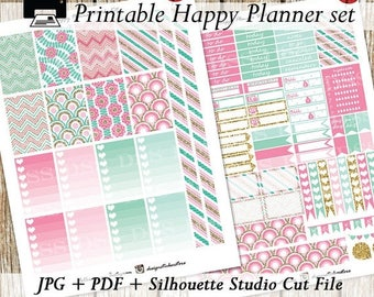 50%OFFSALE Pink Mint Gold Happy Planner Stickers/Printable Happy Planner Stickers/Mambi Planner Stickers/Happy Planner Stickers