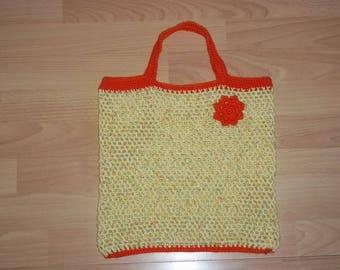 Bag crochet, net, shopping net, yellow