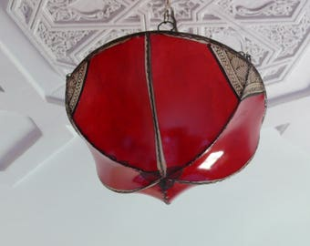 Morocco Oriental ceiling lamp light henna leather, color red