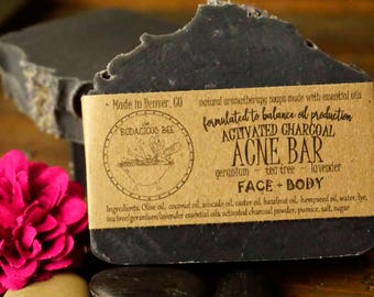 Acne Charcoal Soap | Acne Face Soap, Tea Tree Soap Acne, Lavender Face Soap, Activated Charcoal Soap, Tea Tree Face Soap, Acne Soap
