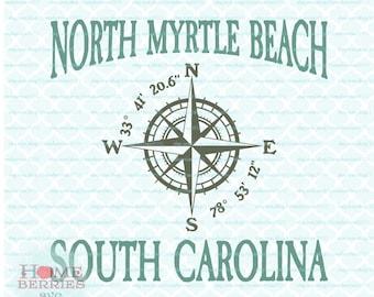 North Myrtle Beach South Carolina SC Nautical Location Latitude Longitude Vacation Spot svg dxf eps jpg ai files for cutting machines