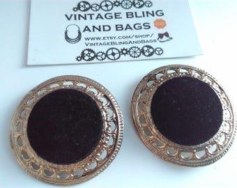 1980s HUGE 45mm black velvet earrings, black vintage statement earrings, 1980s earrings, black 1980s clip on earrings, statement earrings,