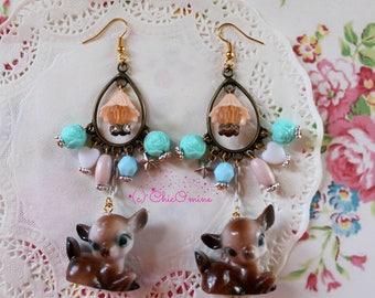Assemblage Pastel Vintage Deer Doe Fawn Dangle Chandelier Statement Earrings: Shabby Chic, Fairy Kei, Kawaii, Bohemian