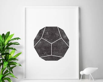 Black and white affiche scandinave print, minimalist art, minimalist prints, sacred geometry, polygon print