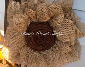 Burlap Daisy Wreath, Sunflower Wreath, Poly Burlap Flower Wreath, Neutral Flower Wreath, Burlap Sunflower Wreath, Rustic Decor